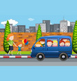 children in a bus scene vector image vector image