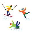 Children with ice skates skis and sledges vector image vector image