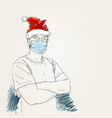 christmas and coronavirus people new normal man vector image