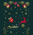 christmas and new year vintage gold ornament card vector image