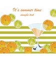Cocktail glass and orange fruits vector image vector image
