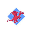 cute red dragon cartoon monster for your logo vector image vector image