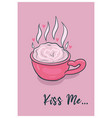 cute valentine s day card with coffee mug vector image