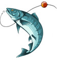 fish fishing logo isolated on white vector image