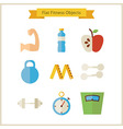 Flat Fitness and Dieting Objects Set vector image vector image