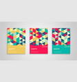 geometric cover design with colorful triangles vector image vector image