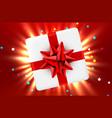 gift box and magic light fireworks christmas vector image vector image