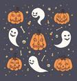 halloween with orange pumpkins ghosts skull vector image vector image