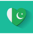 Heart-shaped icon with flag of Pakistan vector image vector image
