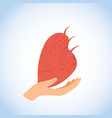 human heart in hand flat icon or logo vector image