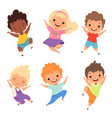 jumping kids happy school children smile laugh vector image