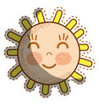 kawaii happy sun with close eyes and cheeks vector image vector image