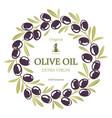 label for olive oil wreath black olives vector image vector image