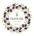 label for olive oil wreath of black olives vector image vector image