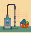 laundry basket and cleaner vacuum icon vector image