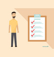 man wth completing checklist on clipboard vector image