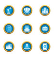 mineral oil icons set flat style vector image vector image