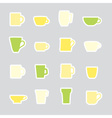 mugs and cups color simple stickers set eps10 vector image vector image
