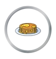 Pancakes with honey icon in cartoon style isolated vector image