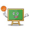 playing basketball chalk board character cartoon vector image