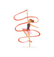 professional gymnast girl dance with red ribbon vector image vector image