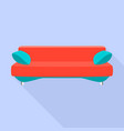 red modern sofa icon flat style vector image