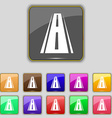 Road icon sign Set with eleven colored buttons for vector image