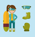 set girl with winter clothes and skiing board vector image