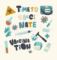 set icons medical vaccination and health vector image