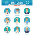 ship crew characters icons set vector image vector image
