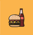 soda soft drink and burger sandwich vector image vector image