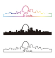 St Louis skyline linear style with rainbow vector image vector image