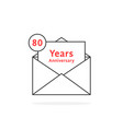 thin line 80 years anniversary logo like open vector image