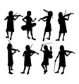 violinist girl silhouettes vector image vector image