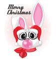 white rabbit with santa hat eyeglasses bawhite vector image vector image