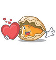 with heart oyster mascot cartoon style vector image vector image