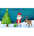 a reindeer and santa claus vector image