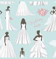 wedding dress set pattern vector image