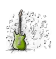 Art sketch of guitar design vector image vector image