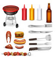 barbecue decorative icons set vector image vector image