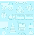 Blue seamless pattern with toys silhouettes vector image
