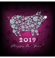 boar pig - silhouette of symbol 2019 year vector image vector image