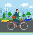 businessman riding a bicycle vector image vector image