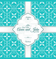 card with vintage blue spanish pattern vector image