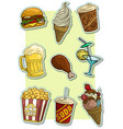 cartoon fast food and drinks icon stickers vector image vector image