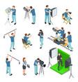 cinematograph isometric set people work camera vector image vector image