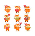collection of cute cartoon lovely red fox vector image vector image