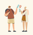 couple male and female characters with backpacks vector image vector image