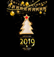 elegant merry christmas card with gold vector image