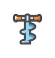 fishing drill tool icon cartoon vector image